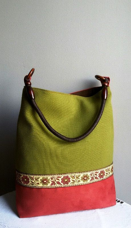 Green bag large comfortable bag. unique bag  women's by IrisBags