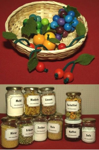 DIY wooden fruits for the kids grocery store - can't say I'd do the glass jars for spices though.