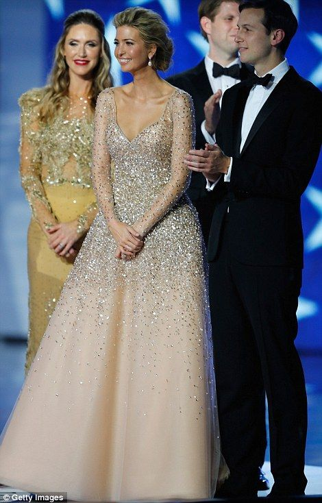 Ivanka Trump dazzled in a glittering Carolina Herrera gown. She was joined by her husband ...