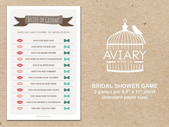 Bridal Shower Game  Bride or Groom / He Said She by AviaryPaperCo