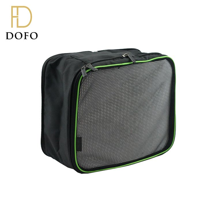 Wholesale durable balck polyester lightweight luggage clothes storage compression travel organizers packing cubes
