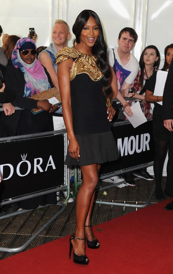 Naomi Cambell in Alexander McQueen gold embellished dress at Glamour Women of the year awards - fashion armor!