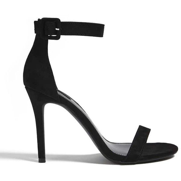 Forever21 Faux Suede Ankle-Strap Heels (Wide) ($25) ❤ liked on Polyvore featuring shoes, pumps, sandals, black, platform shoes, wide shoes, high heel stilettos, forever 21 shoes and high heel shoes