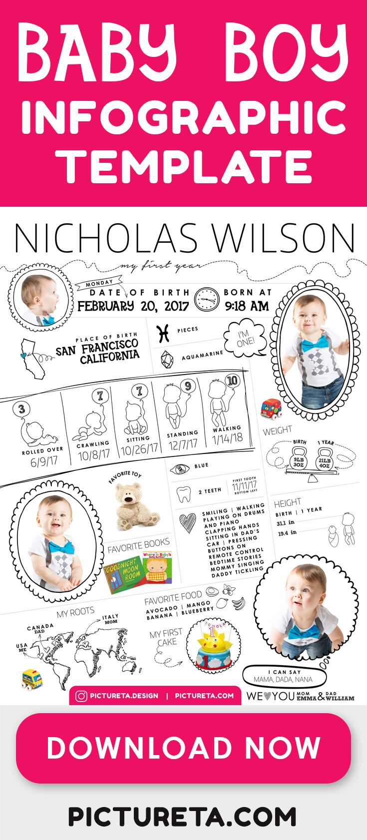 Baby Boy Infographic Template Create First Birthday Party