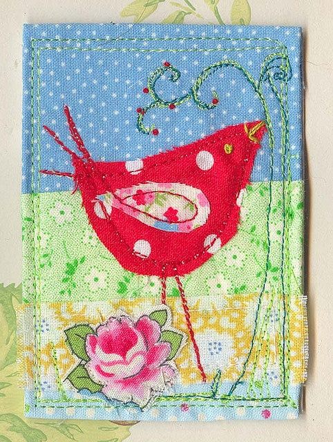 fabric scrap birdie aceo by Judy Scott
