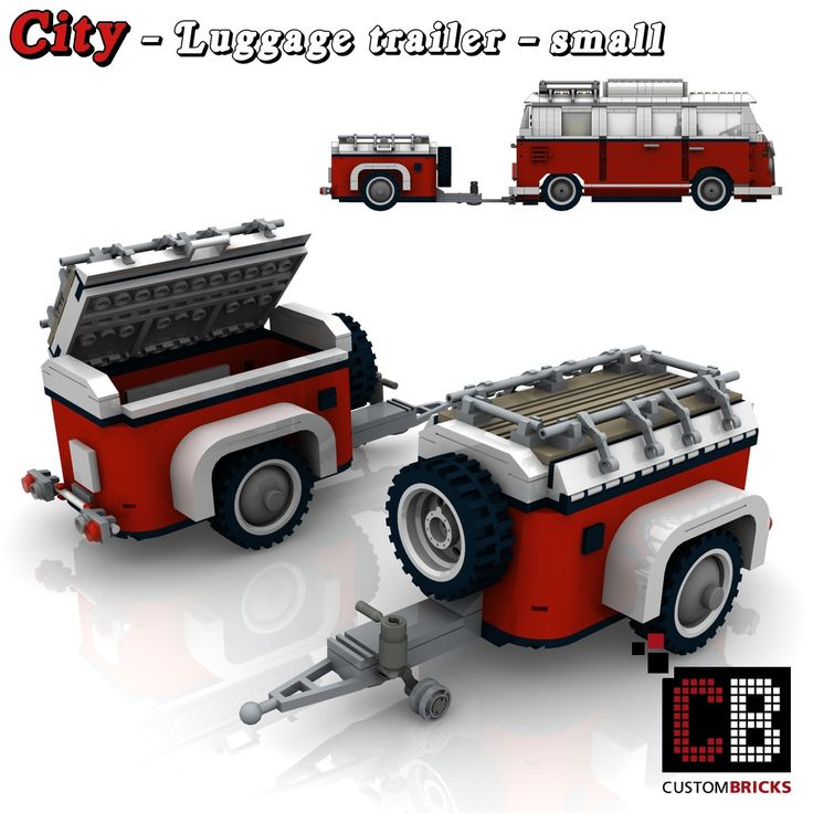 The Custom Luggage Trailer is an additive Model for the legendary T1-VW Bus. - It consists of 328 individual parts (including hitch) - With spare tire and roof fold - Hitch and jockey wheel for parking - Dimensions of the trailer (W / H / D): 11.3 / 8.2 / 20.7 cm Instructions PDF + XML available. For more information look on my Homepage. Thanks for visiting!
