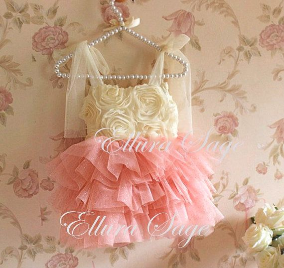 Ivory and Coral Tutu Dress Baby Girl Wedding Dress by ElluraSage
