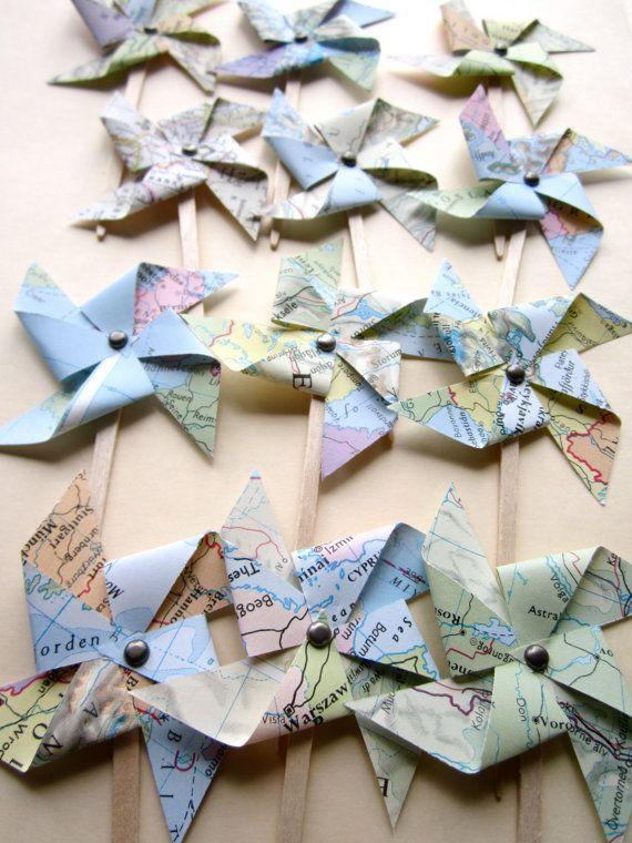 Pinwheels cupcake topper pinwheel cupcake map by MagpieandMax