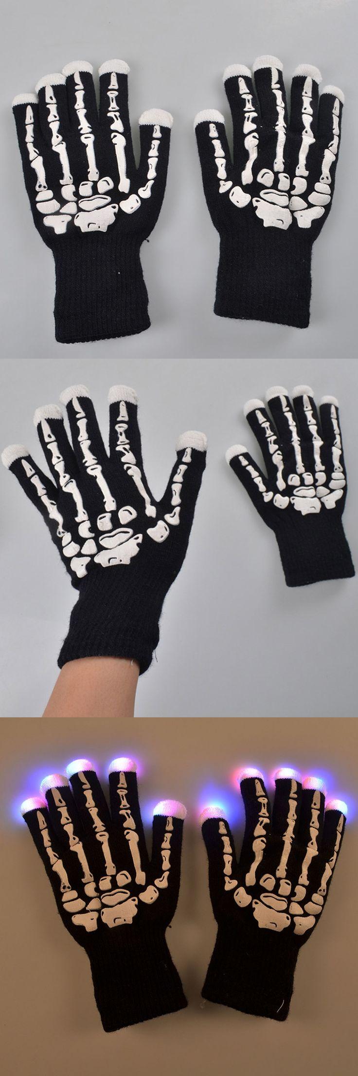Promotion Winter Skeleton Gloves Luminous Skull Smartphone Gloves Black Warm Men Women Knitted Gloves