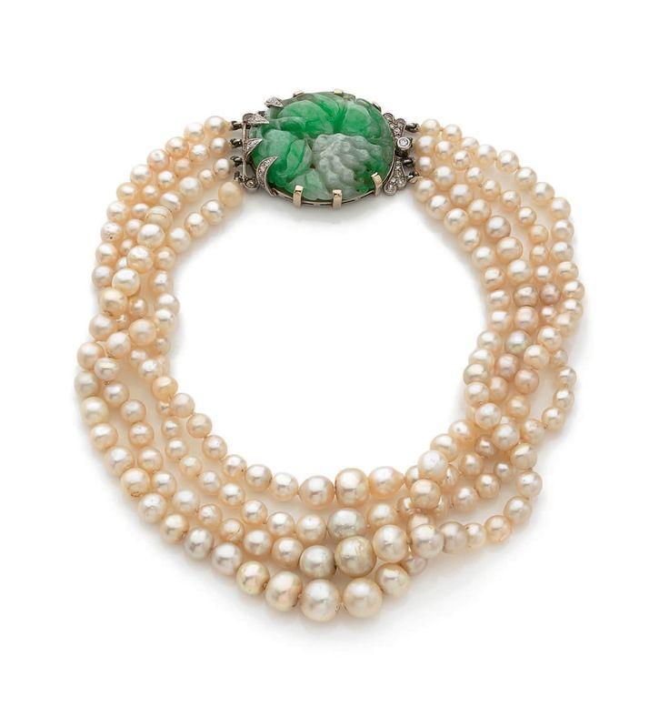 collier de chien de 4 rangs de perles fines baroques en. Black Bedroom Furniture Sets. Home Design Ideas