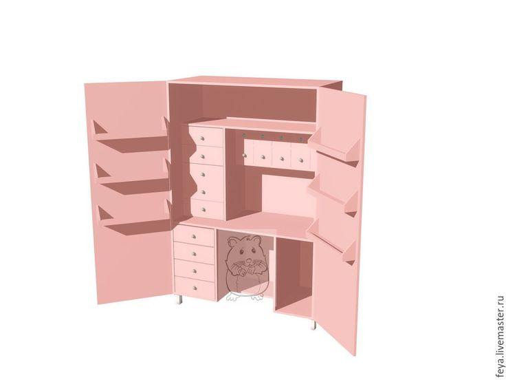 Купить или заказать Шкаф для рукоделия 'Хомяк' в интернет-магазине на Ярмарке Мастеров. Шкаф для рукоделия 'Хомяк'. Шкаф спроектирован с заботой о мастерицах, которые мечтают о своем райском уголке. В нем предусмотрен рабочий стол и удобная система хранения в виде различных полочек и ящичков. Ящики разработаны с учетом размеров бумаги для скрапбукинга. На верхнюю полочку отлично встанут офисные папочки,а маленькие ящички подойдут для различной фурнитуры. На …