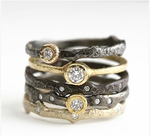 Yasuko Azuma | Diamond Stacking Rings in 18k Yellow Gold Oxidized Sterling Silver |