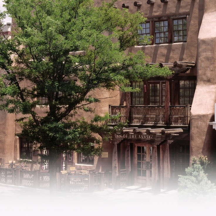 Rosewood Inn of the Anasazi in Sante Fe, NM -  This Forbes four-star, 58-room boutique hotel in the historic downtown is an elegant expression of Southwestern style with massive hand-carved doors, sculptured stairways and sandstone walls that whisper of prehistoric Pueblo living.