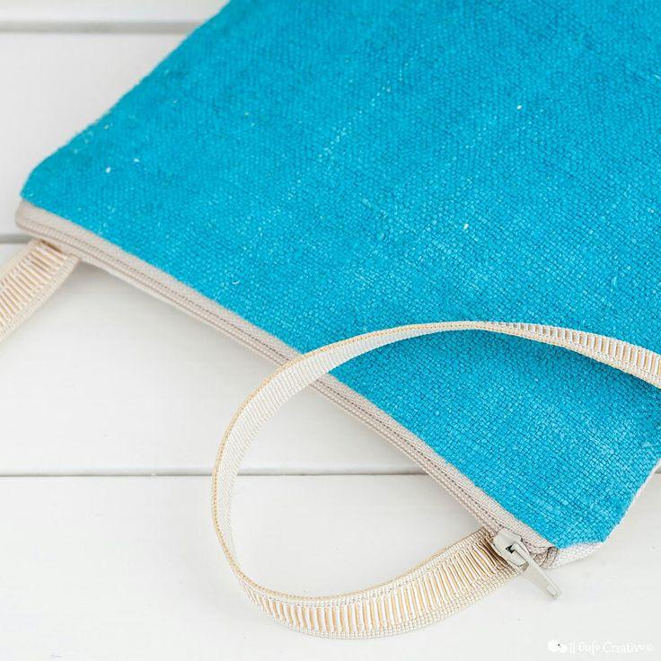 Turquoise raw silk crossbody bag