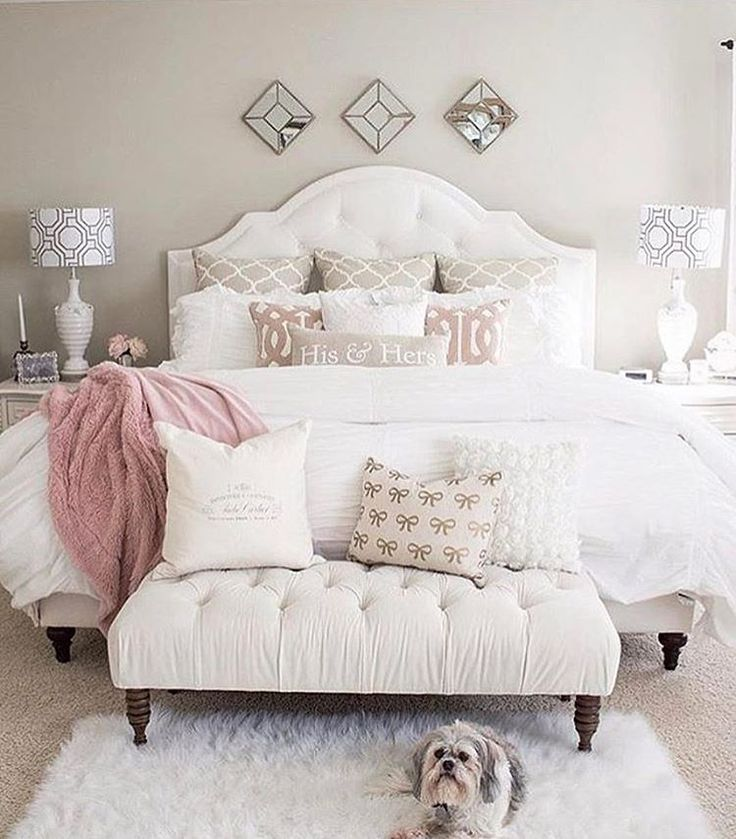 "Cecelia (@thewelldressedhouse) on Instagram: ""Bedroom goals! Love the pup too!....Tag a friend who would love this too!..... credit: @kimkhazel"""