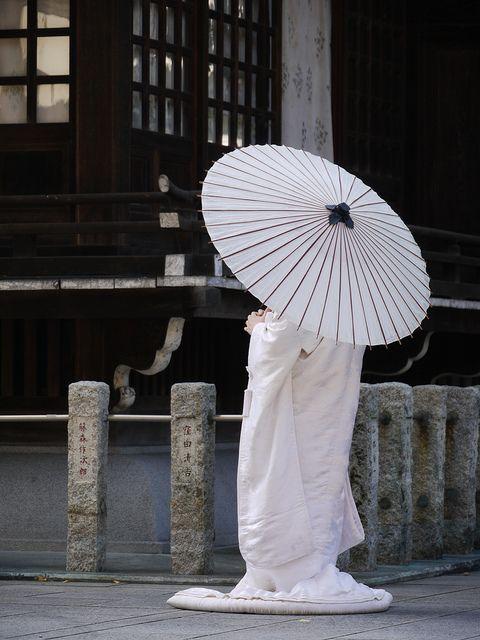 Japanese bride with umbrella