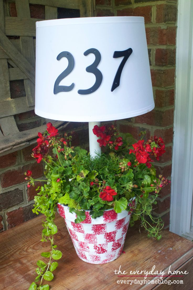 Solar Powered Porch Lamp {and planter, too!}  from The Everyday Home | www.everydayhomeblog.com