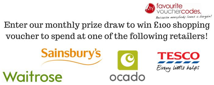 By entering our monthly prize draw, you have the chance of winning £100 Ocado, Tesco, Waitrose or Sainsbury's shopping voucher!  Just enter your name and email address below and share with your friends to get a bonus entry.  While you're here, take a look around the My Favourite Voucher Codes website to save money on shopping with your favourite brands!