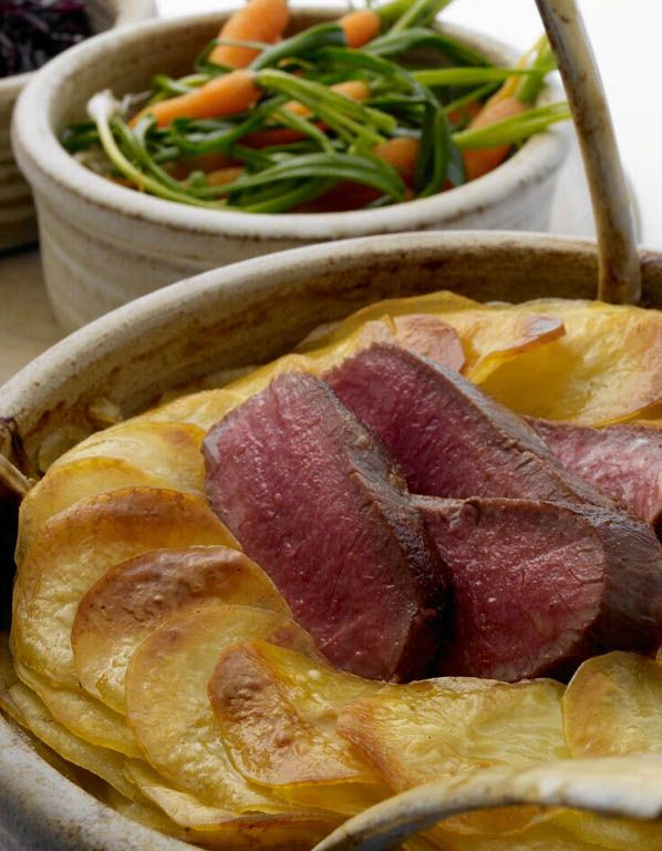 LONK LAMB LANCASHIRE HOTPOT, ROAST LOIN, PICKLED RED CABBAGE, TANGLED CARROTS AND LEEKS - NIGEL HAWORTH.  This Lancashire hotpot recipe was cooked by Nigel Haworth on Great British Menu, winning him a spot in the final banquet menu.