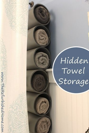 Free up some storage space with this surprisingly easy towel storage idea! http://www.TheRefurbishedHome.com