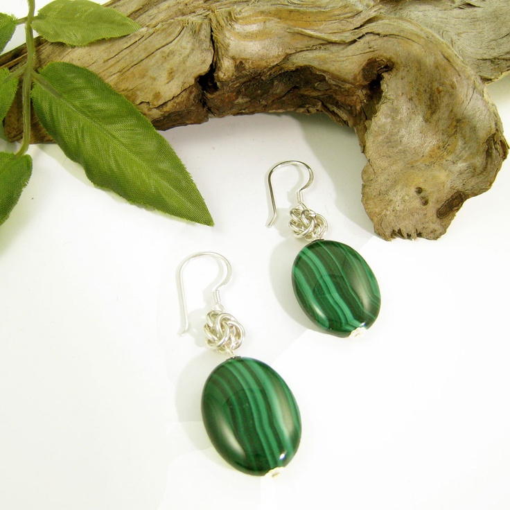Malachite and sterling silver chain maille earrings by Gemtation Jewellery