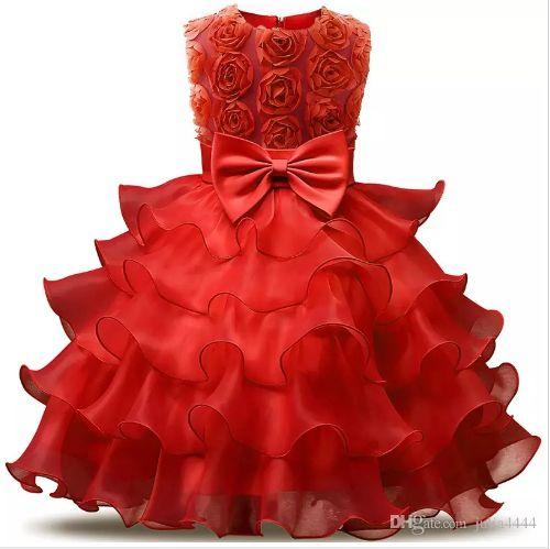 2018 Vintage Red Turquoise Blue Pink Toddler Baptism Clothes Flower Girl Dresses Knee Length With Lace Bow Flowers Tutu Ball Gowns Cheap
