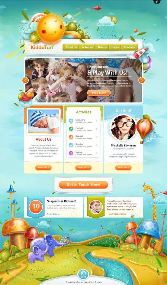 KiddoTurf WordPress Theme http://themefuse.com/wp-themes-shop/kids-wordpress-theme/?r=27299 #web #design #kids