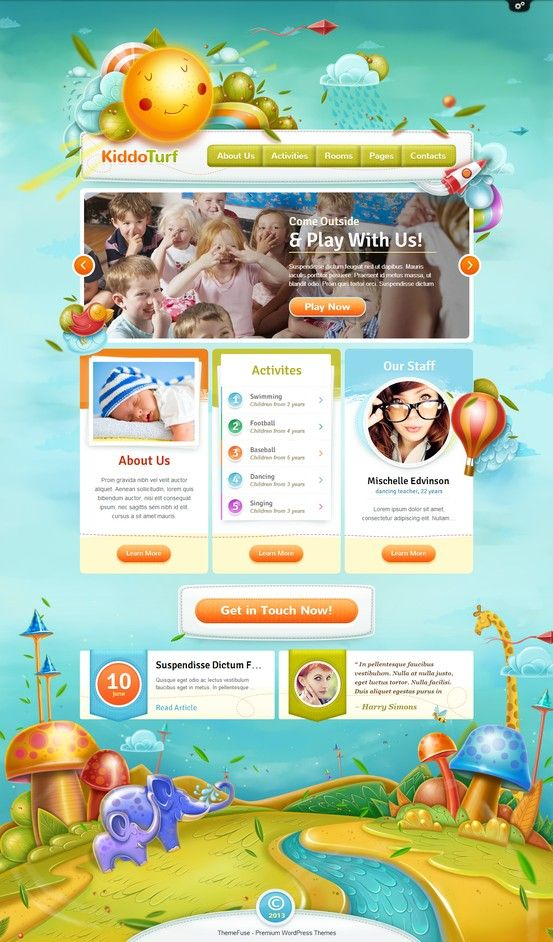 KiddoTurf WordPress Theme http://themefuse.com/wp-themes-shop/kids-wordpress-theme/?r=27299 #web #design #kids