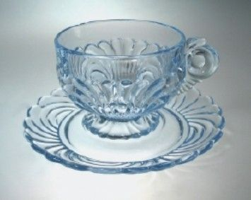 Cambridge Glass Cup & Saucer: Pressed Caprice pattern in Moonlight,