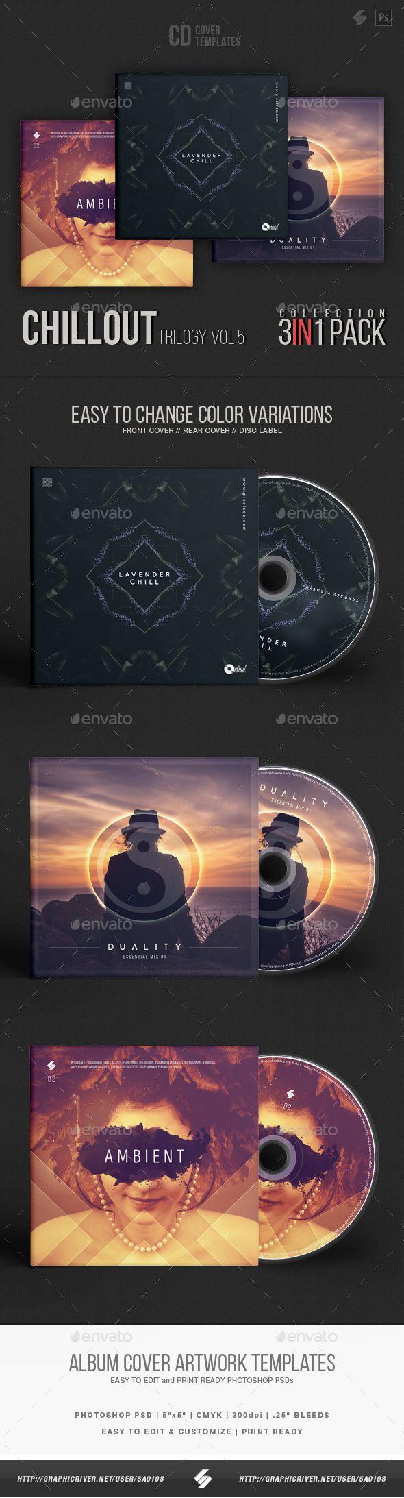 Chillout Trilogy vol.5 - CD Cover Templates Bundle - #CD & DVD Artwork Print Templates