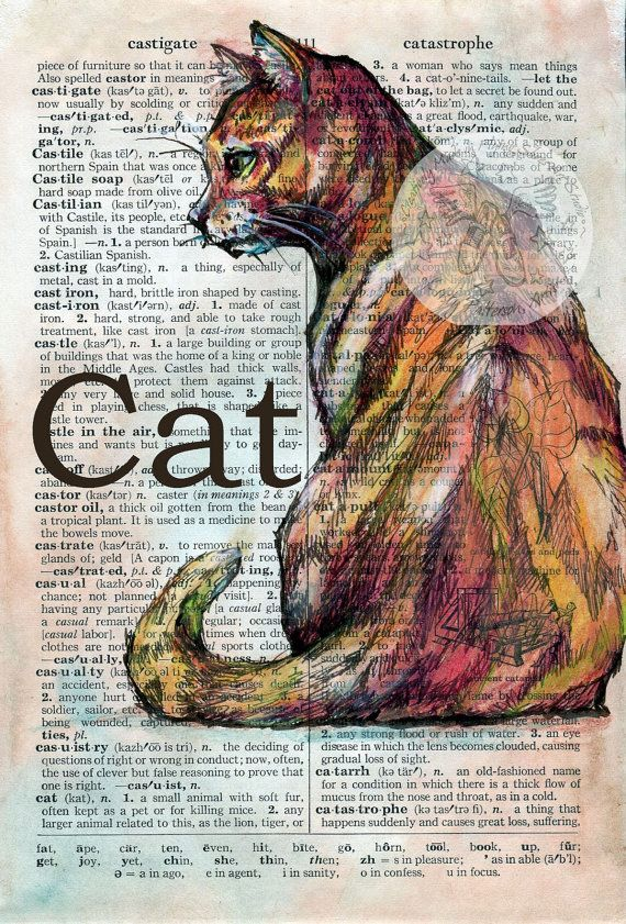 PRINT:  Cat Mixed Media Drawing on Distressed, Dictionary Page