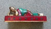Brass Reclining Buddha, 10 inches adorned with Coral stones