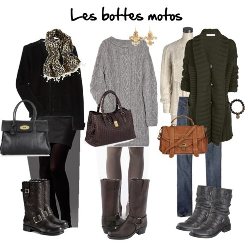 winter: Boots Outfits, Biker Boots, Sweater Dresses, Style, Clothing, Sweaters Dresses, Winter Outfits, Motorcycles Boots, Motorcycle Boots