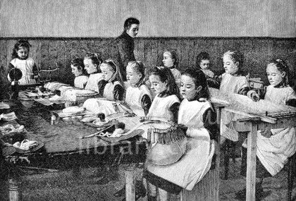 Lace Making. Victorian illustration showing a picture of a teacher giving a lesson in lace making, bobbin lace (pillow lace) and needle-made lace, to little girls. Some girls sit with large cushions in front of them; each cushion (pillow) has many bobbins on which the thread is wound. Other girls sit at a large frame on which net is stretched; they are embroidering on the net. Download high quality jpeg for just £5. Perfect for framing, logos, letterheads, and greetings cards.