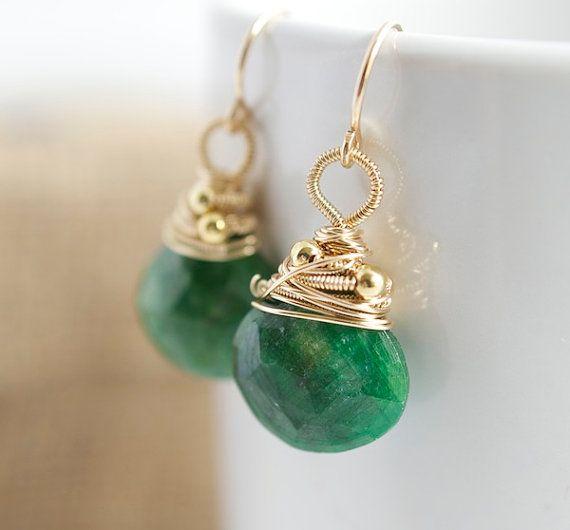 Green Dangle Earrings Green Birthstone Earrings Wire by Jewels2Luv