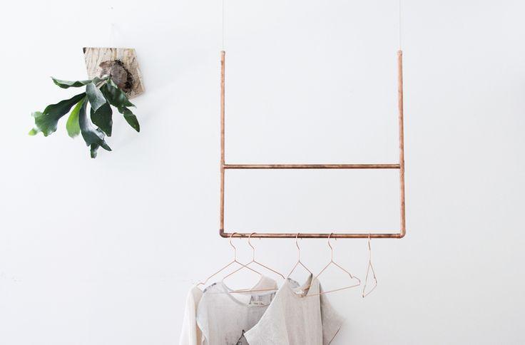 DIY copper clothing rod