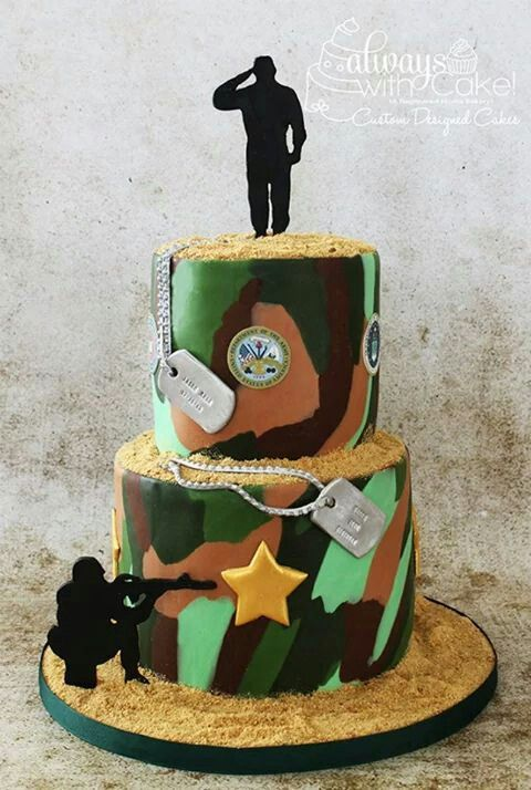 126 best Army Cakes images on Pinterest Army cake Military cake