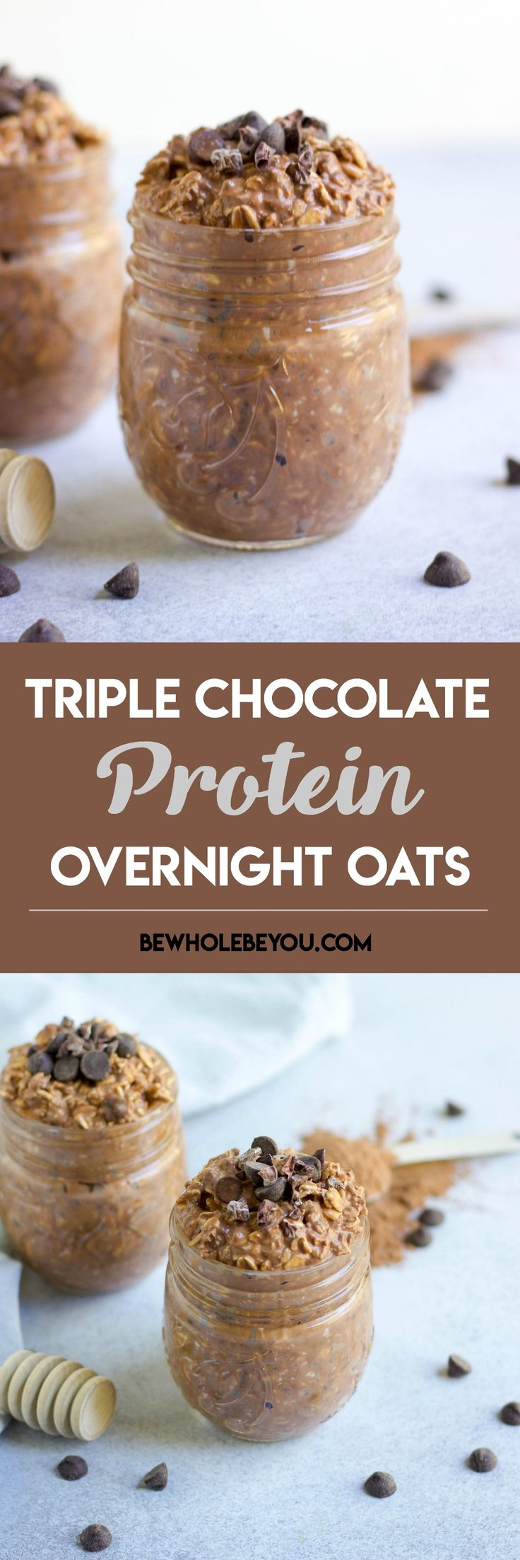 Triple Chocolate Overnight Oats. Overnight Oats just got even better with chocolate, chocolate and even more chocolate! Wholesome oats and chocolate for breakfast! bewholebeyou.com