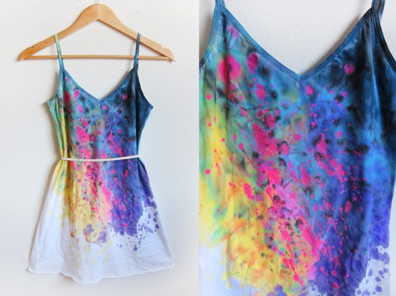Splash Dyed Hand PAINTED Deep V Neck Spaghetti by twostringjane, $62.00    i want this SO BAD.
