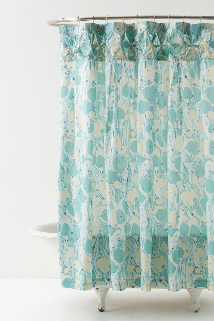Peacock feather fabric shower curtain quot teal peacock feather quot green - Patterned Aqua Shower Curtain