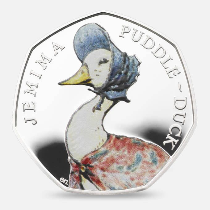 The delightful character of Mrs Tiggy-Winkle is captured on this 50p silver…