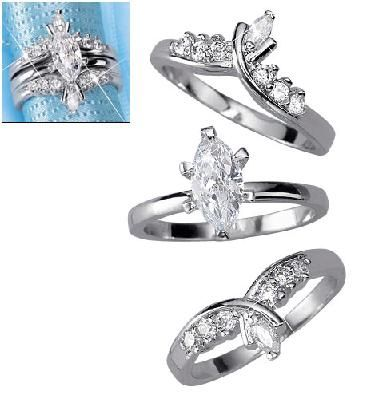 Marquise Ring With Jacket Set In Silvertone Jewelry