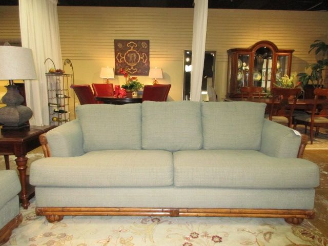 """Broyhill queen size sleeper sofa in a soft green upholstery on medium rattan frame. Ideal for a tropical style home. Measures 87""""wide x 38""""deep x 37""""high. At posting, we have the matching loveseat as well. Arrived: Wednesday September 14th, 2016"""