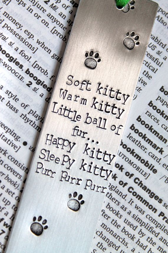 Soft Kitty Big Bang Theory - Metal Stamped Personalised Bookmark