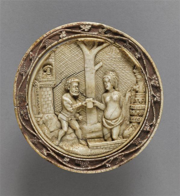 Musée d'Ecouen - Boîte à miroir: David et Bethsabée. ECL15318. 16°s ALLEMAGNE (origine) Ivoire.