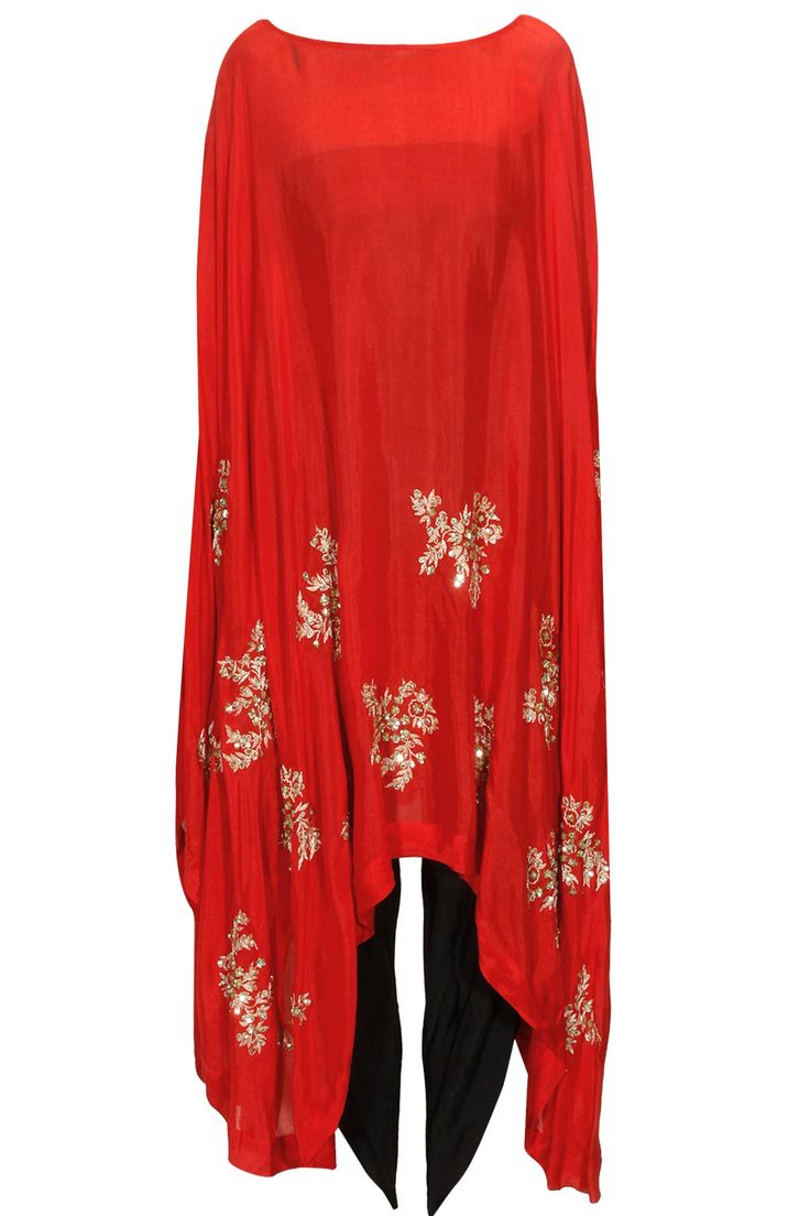Red motifs cape with dhoti pants available only at Pernia's Pop Up Shop.#perniaspopupshop #pratyushagarimella #newcollection #festive #designer #clothing