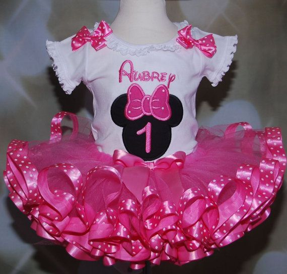 Minnie Mouse First Birthday  Girl's Tutu Outfi  2 pieces Minnie Mouse Pink