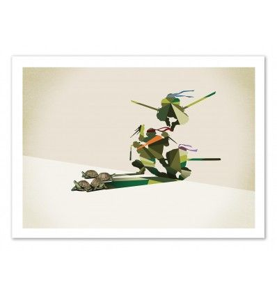 The American Jason Ratliff cleverly blends drawings and vector graphic-designs, like turtles playing with his géometric shadow to become as Famous Ninja Turtles. Art-Poster and prints published by Wall Editions. Illustration Format : 50 x 70 cm