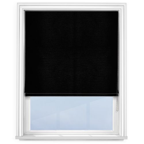 Touched by Design Faux Silk Black Roman Blind