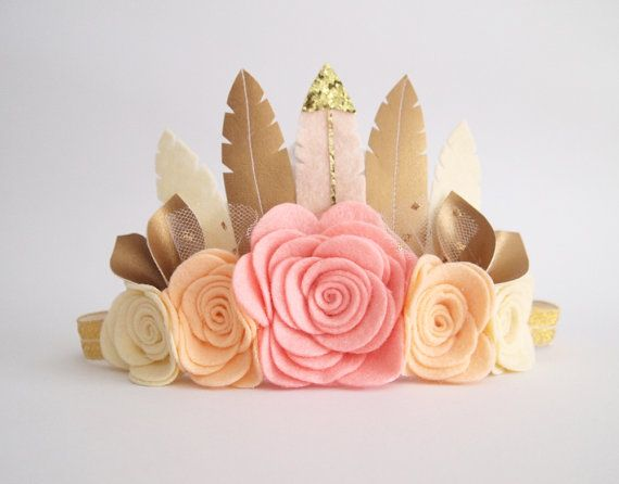 Sweetheart Rose Feather Crown  suitable for little one from 6 months+ to bigger girls for all occasions - birthday, party, special events, wedding, flower girls, photo shoots etc.  ********************************  Handcrafted felt feather crown with felt flowers in a sweetest colour combination of blush pink, peach and cream with touch of gold. Fold over elastic (FOE) is sewn on the end of felt base. Please choose your size at the drop down menu on your left column. 3 months old - 1 year…